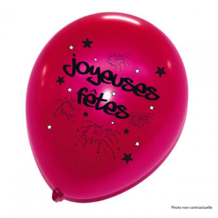 Sachet de 8 ballons joyeuses fêtes